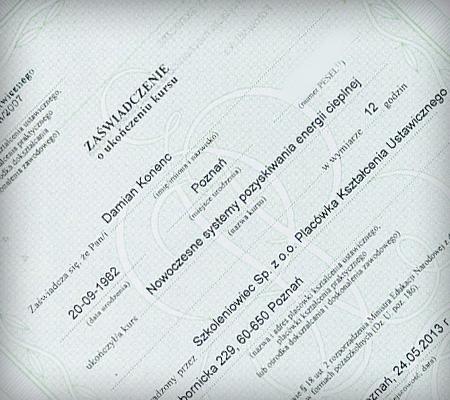 certyfikat instalacyjny