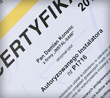 Certyfikat Autoryzowanego instalatora JUNKERS