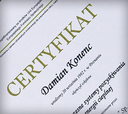 certyfikat uczestniczenia w szkoleniu