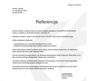 Referencje - Damian Jóźwiak