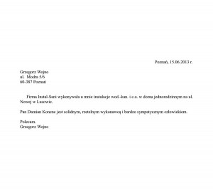 referencje Grzegorz Wojno