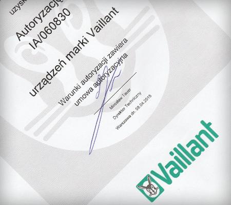 Certyfikat firmy Vaillant